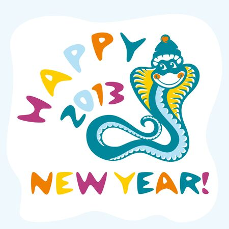 abstract new year card with funny snake vector illustration Vector