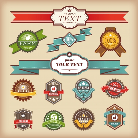 set of vintage labels and ribbons vector illustration Stock Vector - 14924650