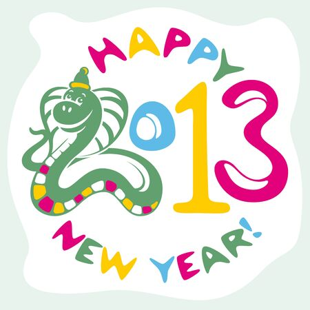 new year card with funny snake vector illustration Vector