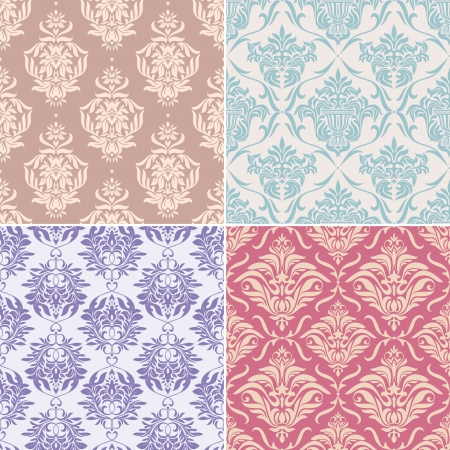 vintage wallpaper: set of seamless floral pattern vector illustration