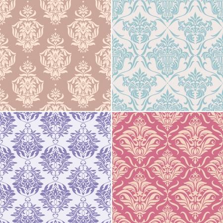 zestaw ilustracji wektorowych bez szwu kwiatowy wzór