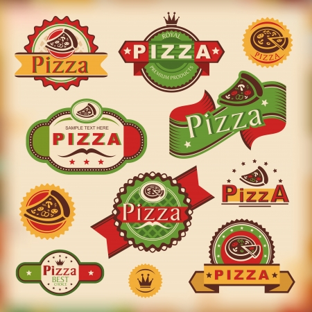 pizza slice: set of vintage pizza labels vector illustration Illustration