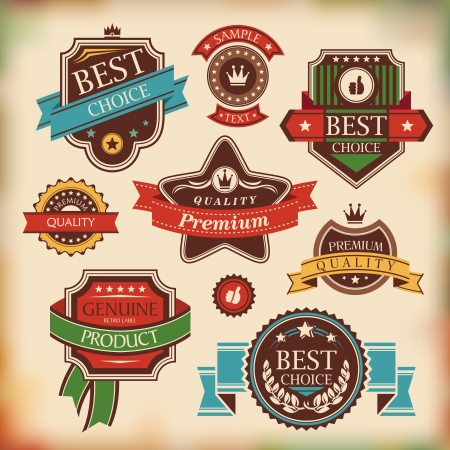 set of vintage labels and badges vector illustration Stock Vector - 14924660