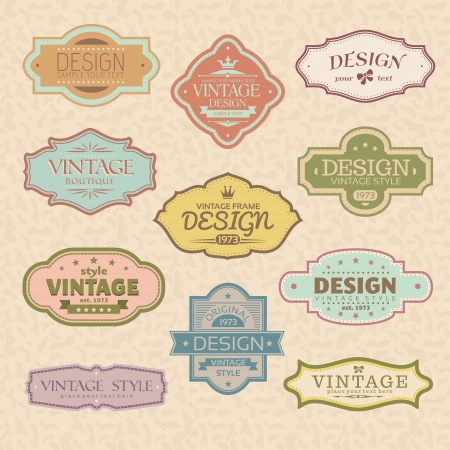 vintage symbol: set of vintage retro frames