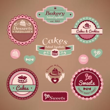 set of vintage bakery labels vector illustration