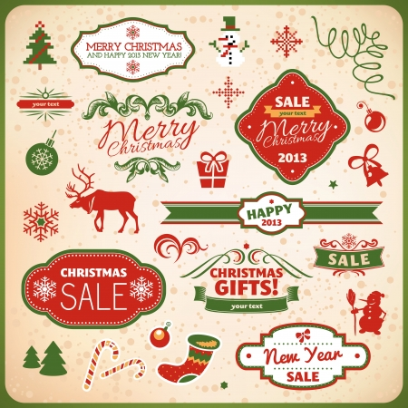 collection of christmas and new year decoration elements Vector
