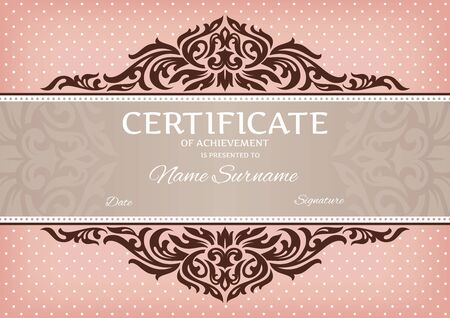 certificate frame: abstract floral certificate of achievement vector illustration