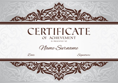 marriage certificate: abstract floral certificate of achievement vector illustration