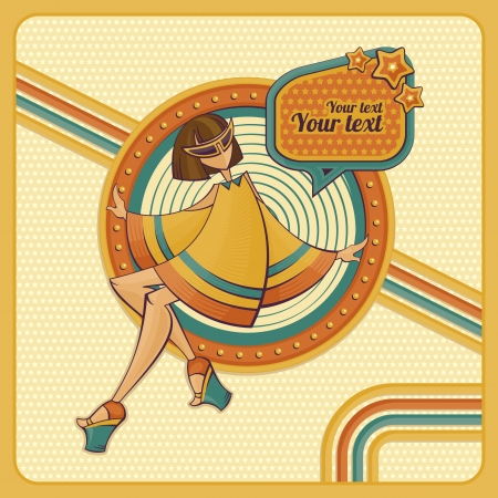 Card with girl in retro style illustration