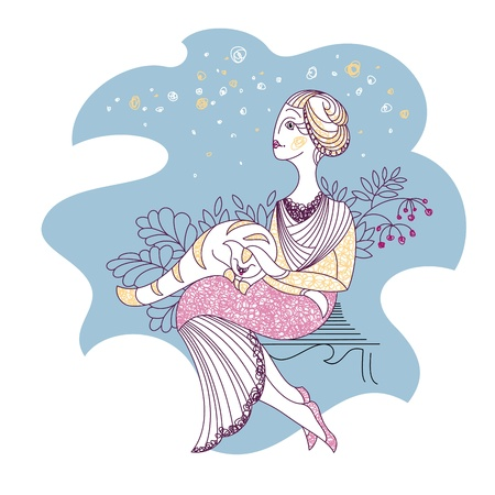 card with woman and cat illustration Vector