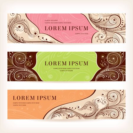 set of floral retro banners illustration Vector