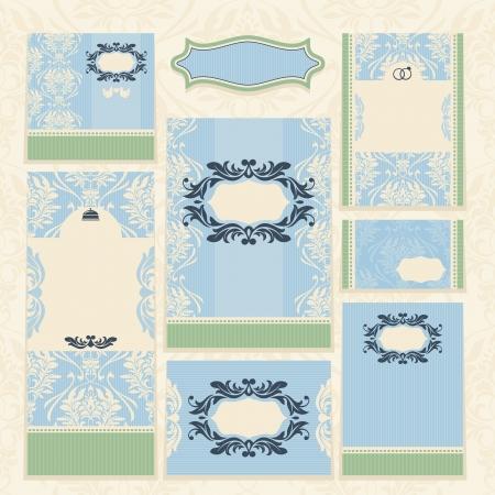 ensemble de cartes de mariage floral illustration vectorielle