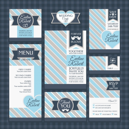 set of classic wedding cards vector illustration  イラスト・ベクター素材