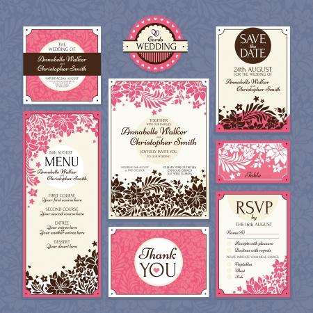 花の結婚式のカード ベクトル イラストのセット 写真素材 - 21053498