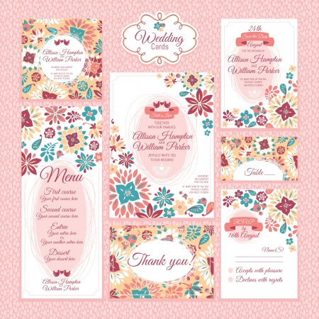 花の結婚式のカード ベクトル イラストのセット 写真素材 - 21053502