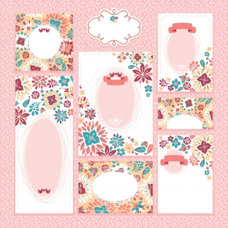 ensemble de cartes de mariage floral illustration vectorielle
