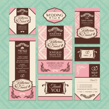 royal wedding: Set of wedding cards. Wedding invitations, Thank you card, Save the date card, Table card, RSVP card and Menu.