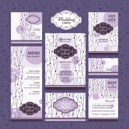 結婚式のカードのセットです。結婚式招待状、礼状、日付カード、テーブル カード、RSVP カード、メニューを保存します。 写真素材 - 21616755
