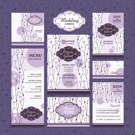 Set of wedding cards. Wedding invitations, Thank you card, Save the date card, Table card, RSVP card and Menu. Vector