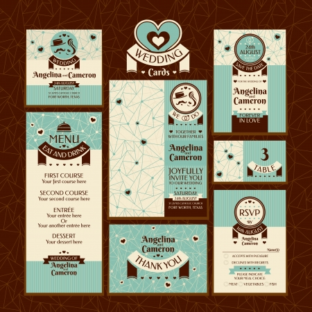 rsvp: Set of wedding cards. Wedding invitations, Thank you card, Save the date card, Table card, RSVP card and Menu.