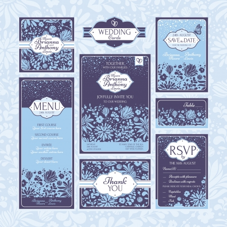 date: Set of floral wedding cards. Wedding invitations. Thank you card. Save the date card. Table card. RSVP card and Menu.