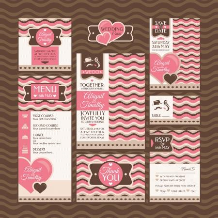 結婚式のカードのセットです。結婚式の招待状。ありがとうカード。日付カードを保存します。テーブルのカード。RSVP カードとメニュー。 写真素材 - 21616766