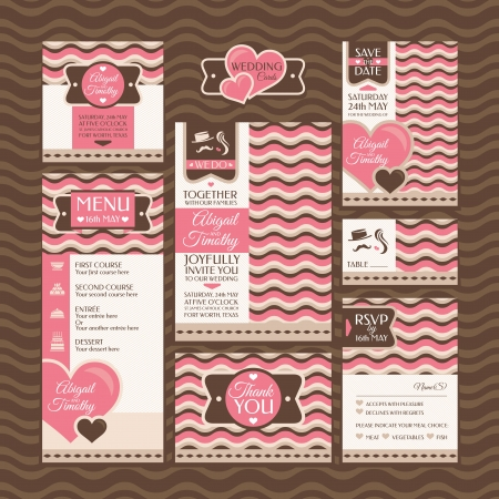 Set of wedding cards. Wedding invitations. Thank you card. Save the date card. Table card. RSVP card and Menu. Stock Vector - 21616766