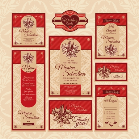Set of floral wedding cards. Wedding invitations. Thank you card. Save the date card. Table card. RSVP card and Menu. Vector