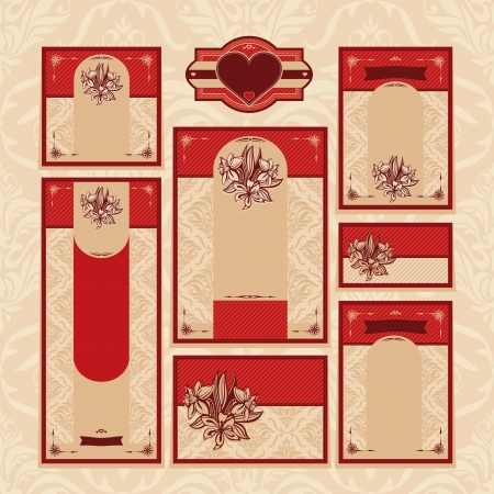 set of floral wedding cards vector illustration Stock Vector - 21616785