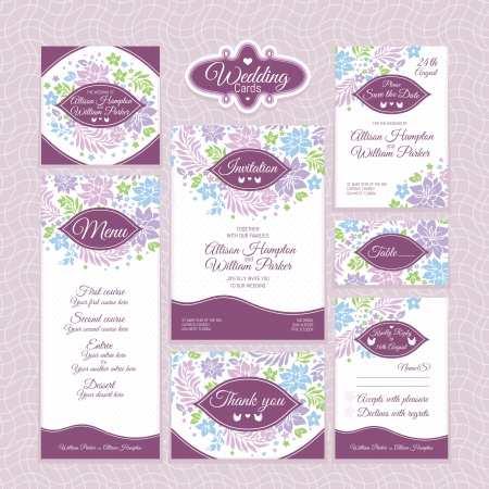 Set of floral wedding cards. Wedding invitations. Thank you card. Save the date card. Table card. RSVP card and Menu.