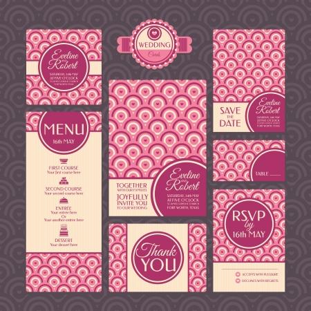 tarjeta de invitacion: Conjunto de tarjetas de boda. Invitaciones de boda. Gracias tarjeta. Guardar la tarjeta de fecha. Tarjeta de la tabla. Tarjeta de RSVP y Menu. Vectores