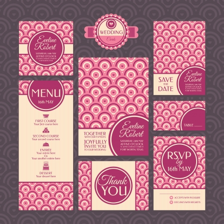 Set of wedding cards. Wedding invitations. Thank you card. Save the date card. Table card. RSVP card and Menu. Vector
