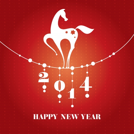 horse in snow: Chinese new year card with horse vector illustration