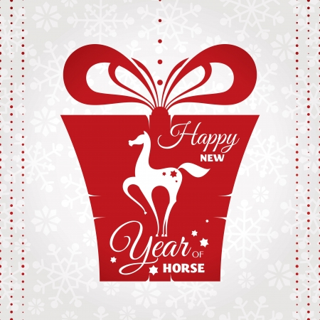 year of horse: new year card with present vector illustration