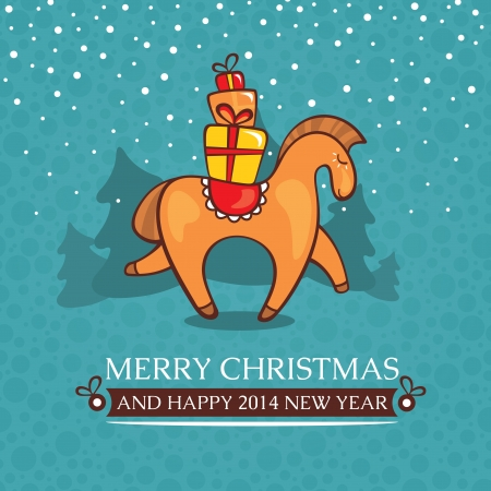 Christmas cute baby card with horse and gifts vector illustration