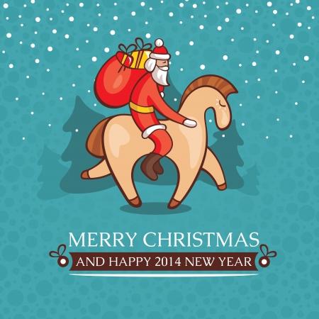 Christmas cute baby card with santa claus vector illustration