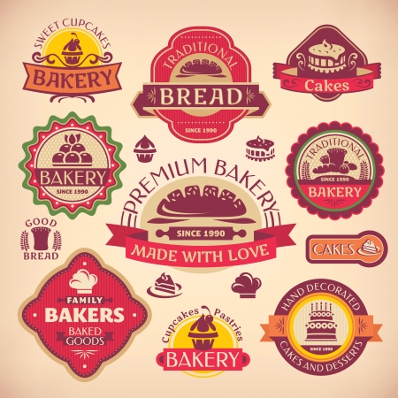 Set of vector vintage various bakery labels  イラスト・ベクター素材