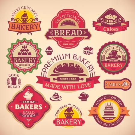 bakery sign: Conjunto de vectores de diferentes etiquetas de panader�a de �poca Vectores