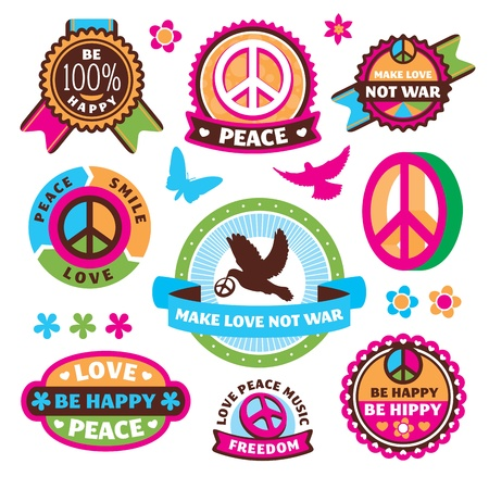 symbols of peace: set of peace symbols and labels vector illustration