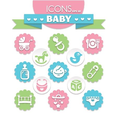 collection of universal baby icons, eps10 vector illustration Illustration