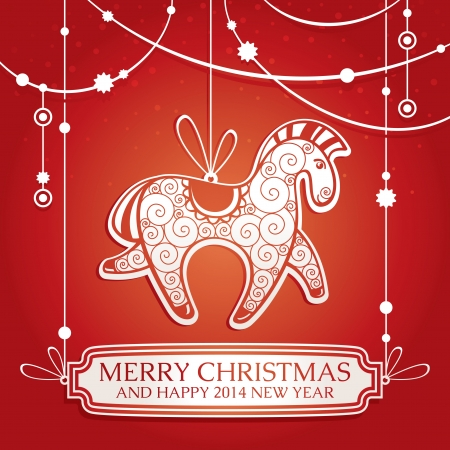 Christmas greeting card with horse vector illustration Vector