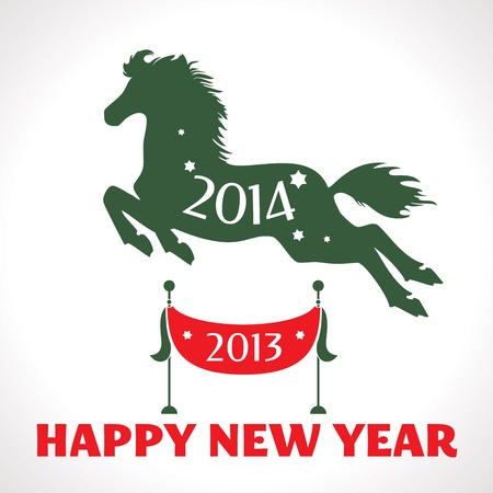 New year greeting card with horse vector illustration Illustration