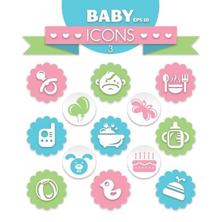 teteros: colección de iconos de bebé universales Vectores