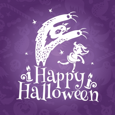 Happy Halloween greeting vector card with monster chasing the girl Vector