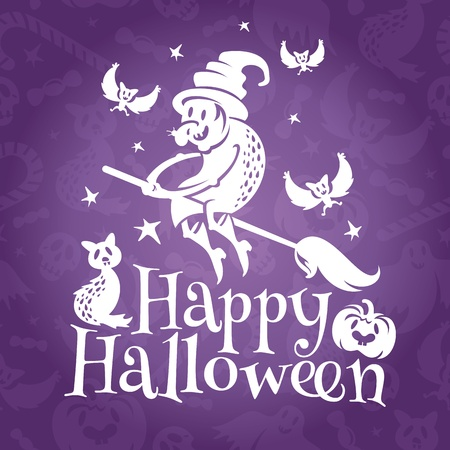 Happy Halloween greeting vector card with old ugly witch Vector