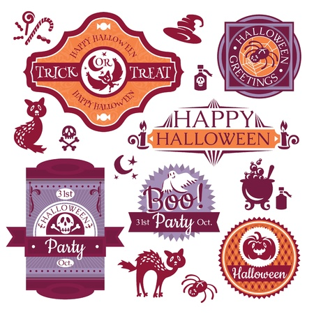 Collection of Halloween labels and signs vector illustration Vector
