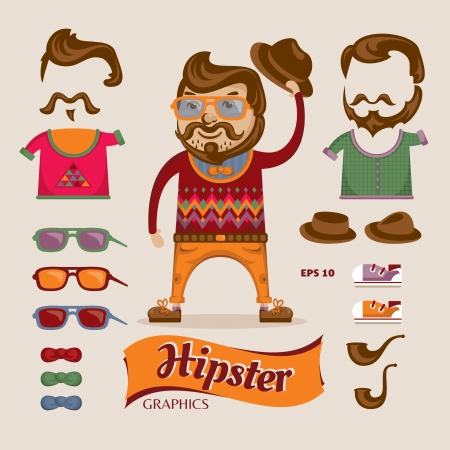 Hipster handsome man with hipster accessories  Vector