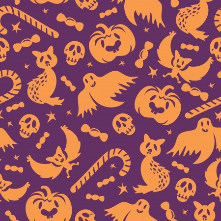 Halloween seamless pattern background wallpaper vector illustration Vector