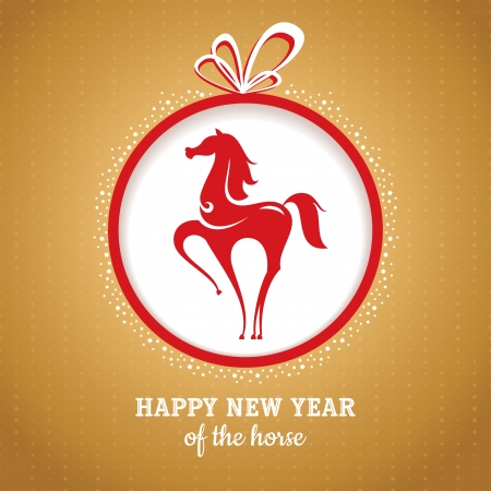 Year of the horse greeting card vector illustration Stock Vector - 22679113