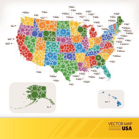 Map of USA illustration Vector